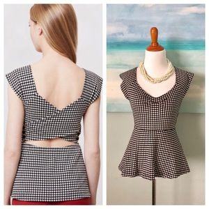 Anthropologie Deletta Neo Gingham Top Peplum